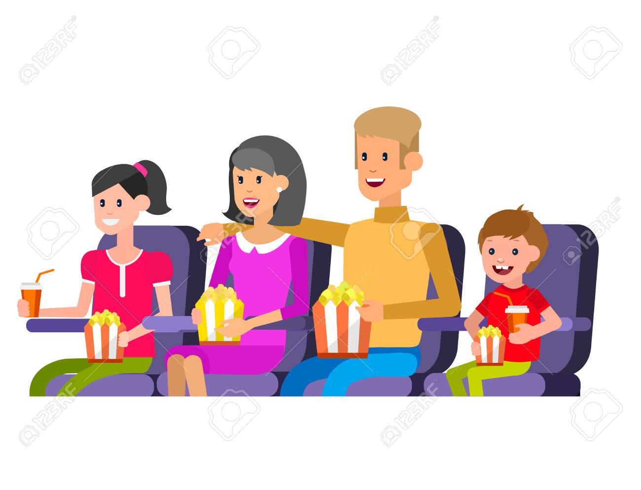 Family Cinema movie poster or banner template, popcorn, 3D glasses, concept banner. Cinema hall. Rest with family in the cinema. Cute vector character people - 57897697