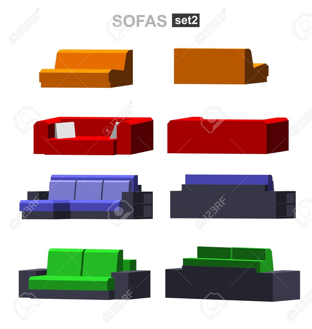 Satz Des Getrennten Isometrischen Sofas Vektor Sofa Abbildung Sofa