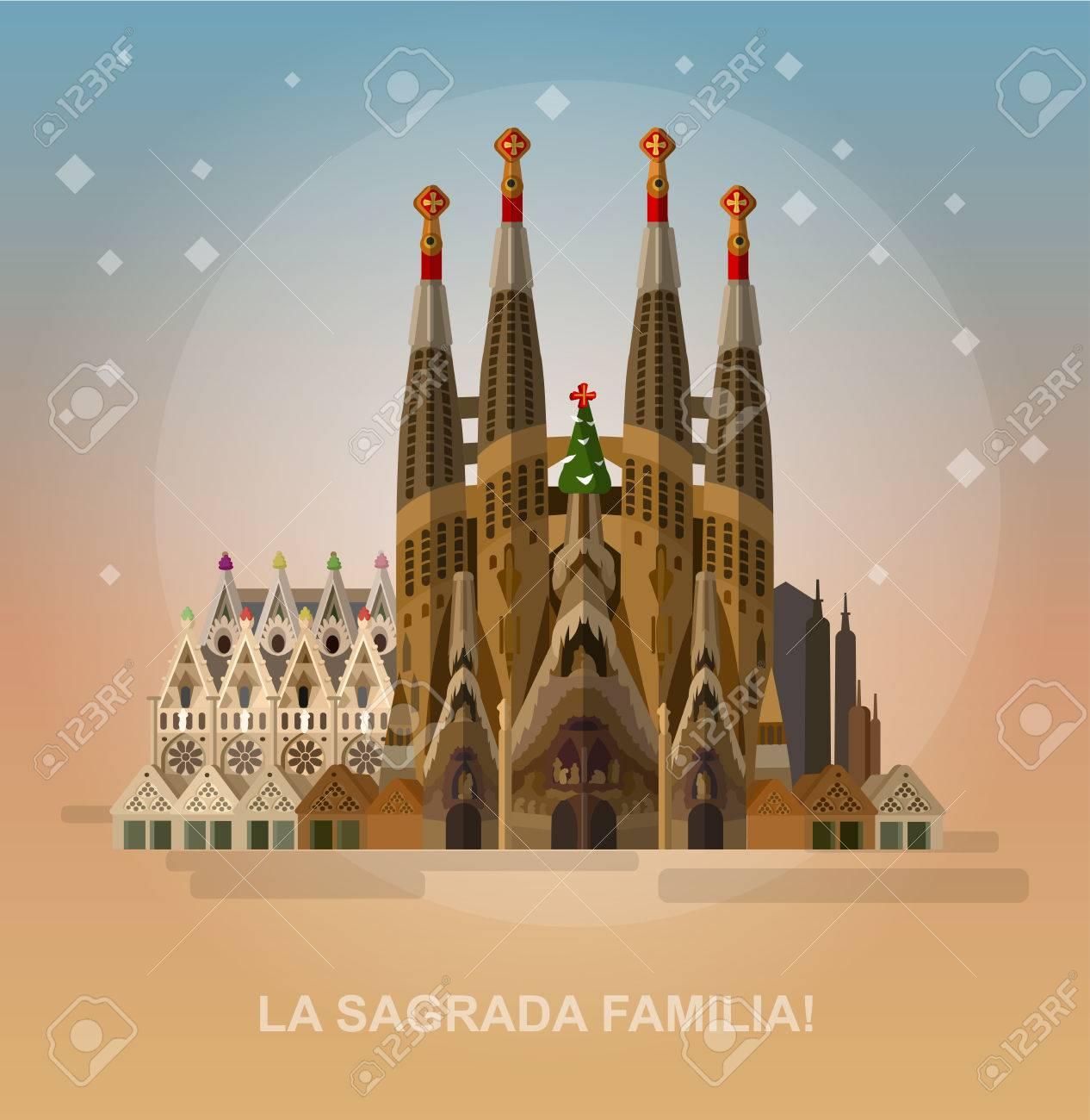 High quality, detailed most famous World landmark. Vector illustration of La Sagrada Familia - the impressive cathedral designed by Gaudi. Travel vector. Travel illustration. Travel landmarks - 57935735