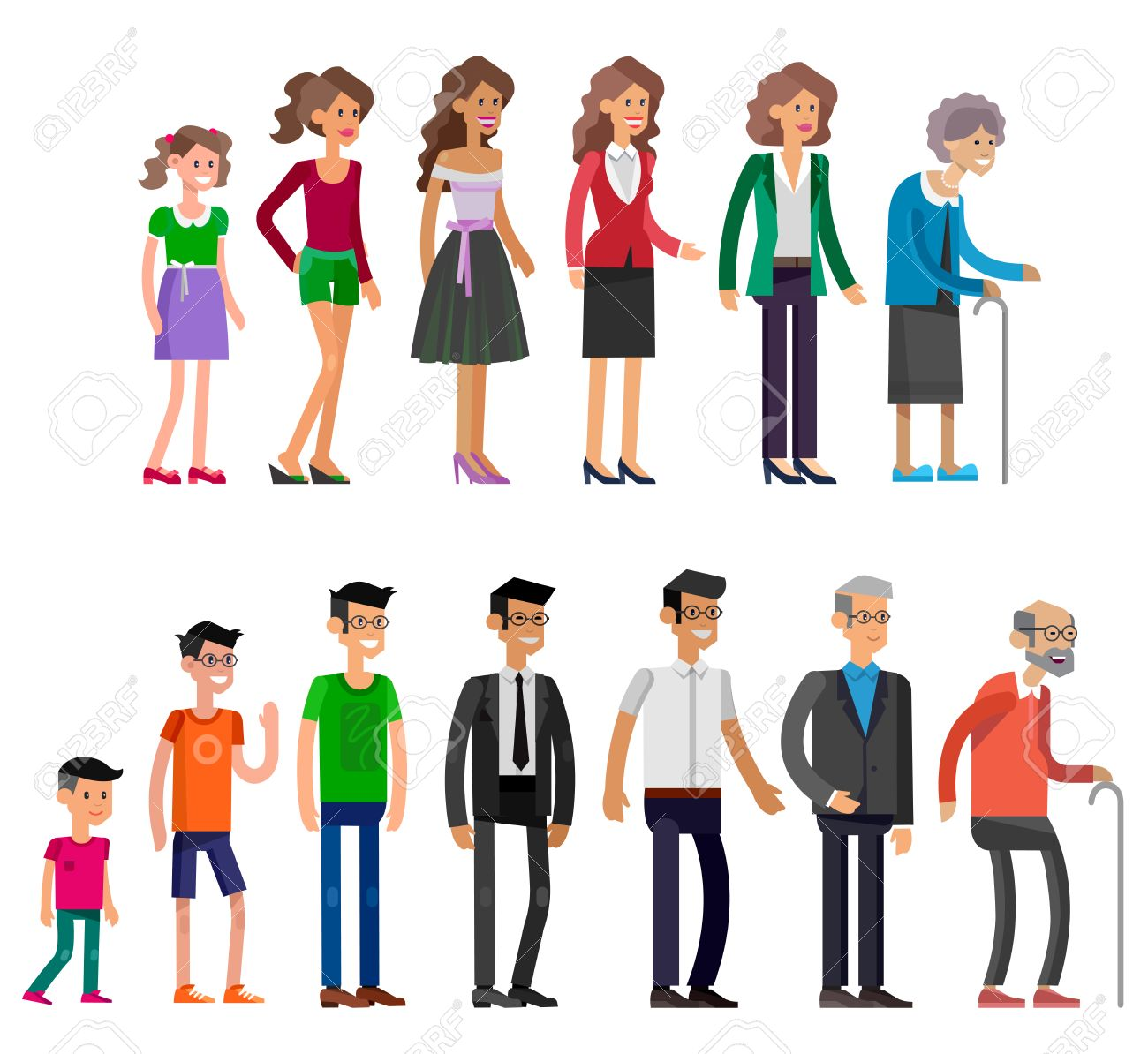 Detailed characters people isolated on white background. Generations woman and men. All age categories - infancy, childhood, adolescence, youth, maturity, old age. Stages of development - 58222654