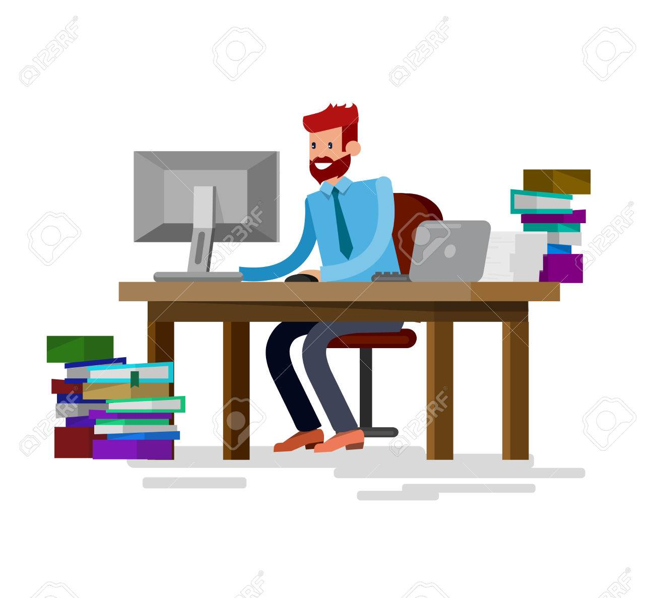 Vector Detailed Character Corporate Business Team People Sitting Behind Desk Office Worker Men