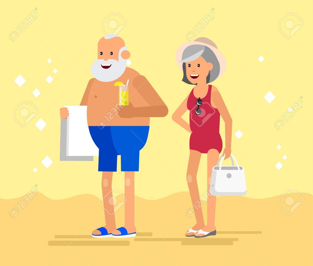 ca65bf1f8dbe Coppia di anziani anziano con le vacanze estive. I vecchi turisti, anziani  in costume da bagno andare sulla spiaggia.