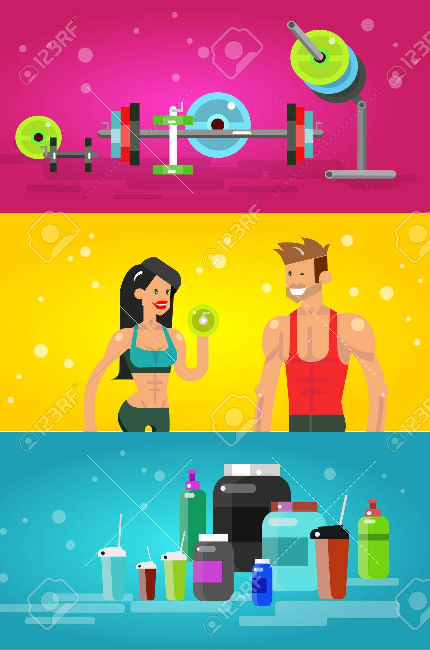 Gym Design-Konzept Mit Vector Detaillierte Charakter Männer Und ...