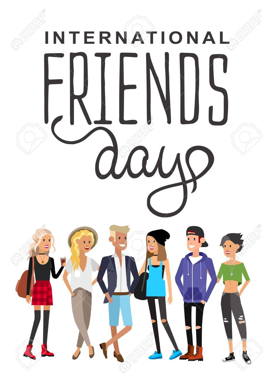 Grupo De Amigos Felices Con Los Amigos Del Título Día Ilustración