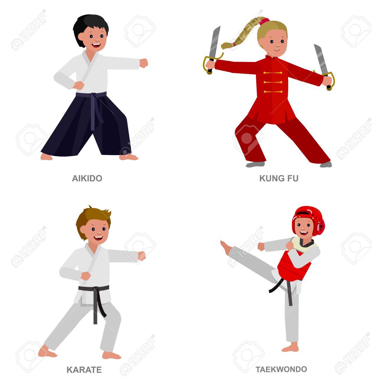 Niño Lindo Del Vector Del Carácter Ilustración Para El Taekwondo Arte Marcial Karate Aikido Kung Fu Niño Que Lleva El Kimono Y Formación Ilustraciones Vectoriales Clip Art Vectorizado Libre De Derechos Image