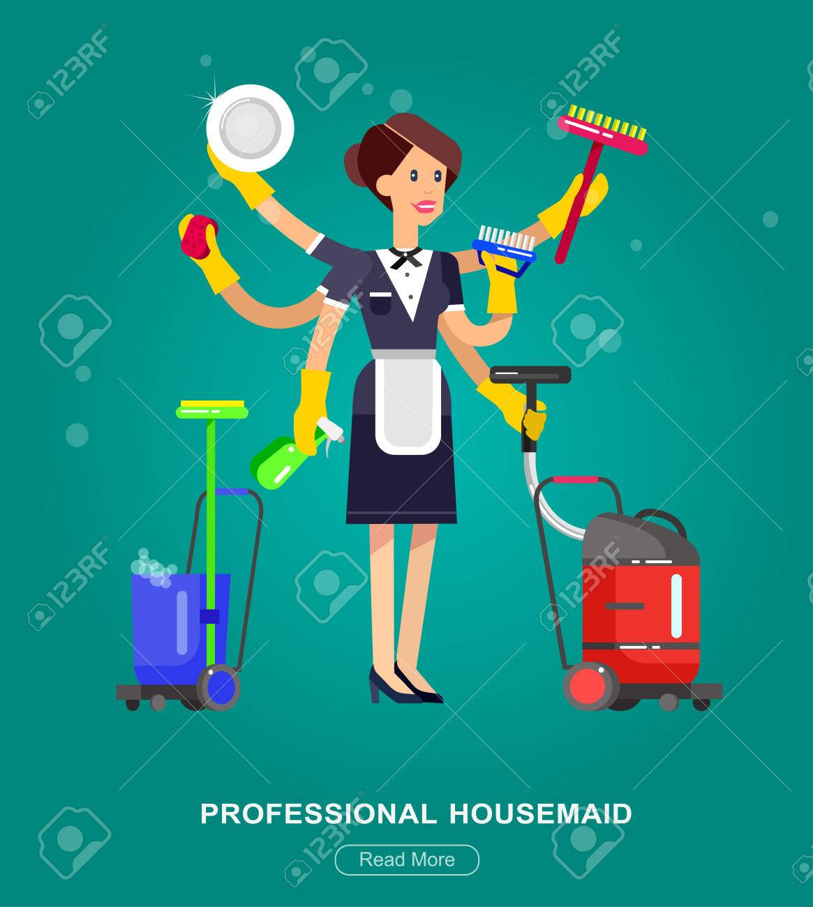 Poster Design For Cleaning Service And Supplies. Vector Detailed Character  Professional Housekeeper Stock Vector