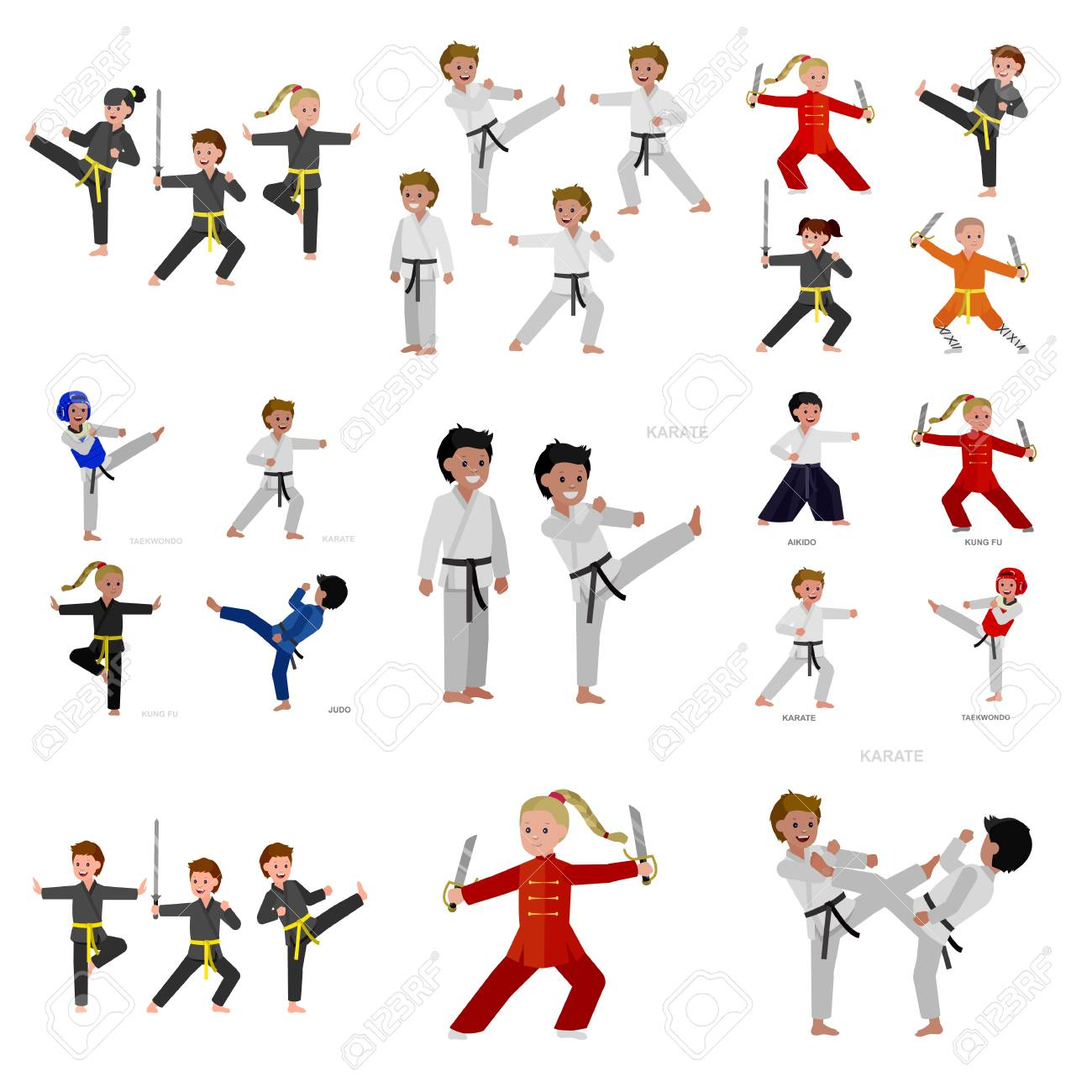 Cute vector character kid Shaolin monk. Illustration for martial art kung fu poster. Kid wearing kimono and training kung fu. Child take kung fu fighting pose - 110480739