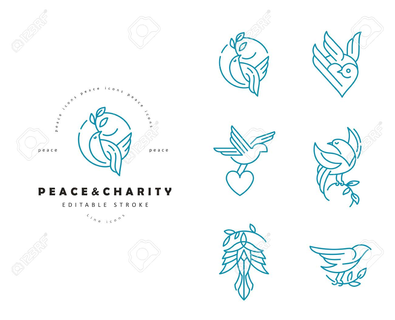 Vector icon and logo peace and charity  Editable outline stroke