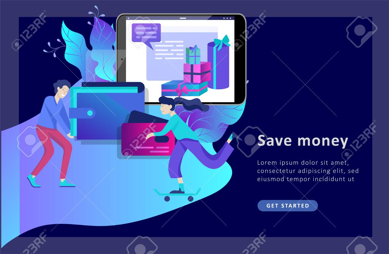 Landing page template of Online Shopping people and mobile payments. Vector illustration pos terminal confirms the payment using a smartphone, Mobile payment, online banking. - 126874344