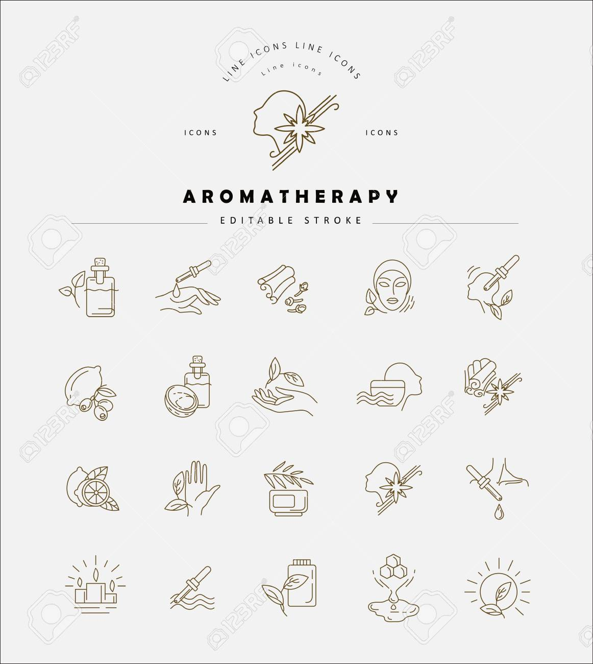Vector Icon And Logo For Aromatherapy Editable Outline Stroke Royalty Free Cliparts Vectors And Stock Illustration Image 113854837