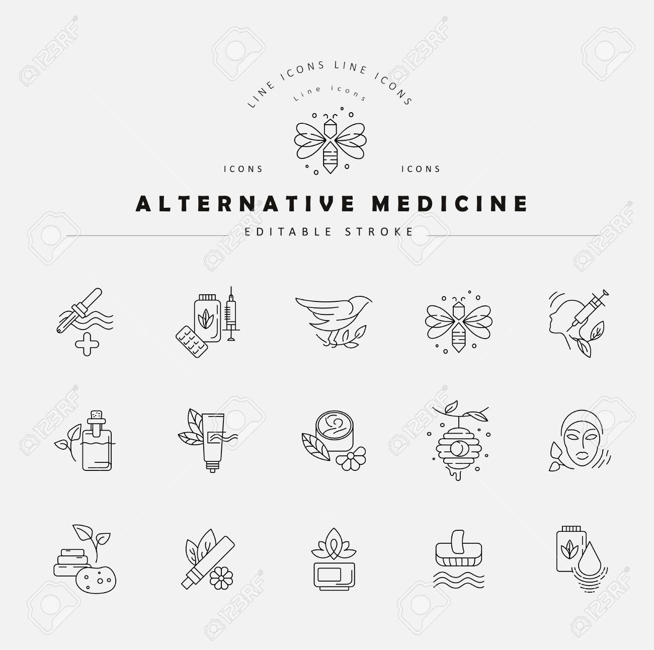 Vector icon and logo for alternative medicine. Editable outline stroke size. Line flat contour, thin and linear design. Simple icons. Concept illustration. Sign, symbol, element. - 113855456