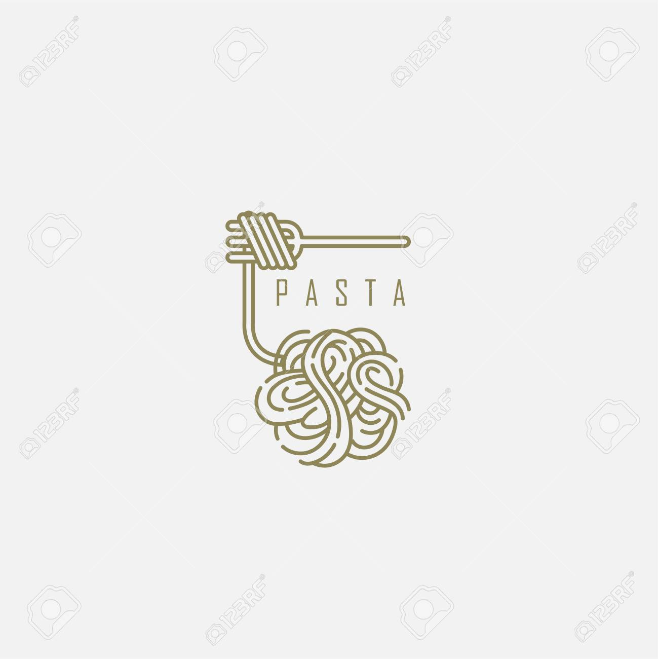Vector icon and logo for italian pasta or noodles. Editable outline stroke size. Line flat contour, thin and linear design. Simple icons. Concept illustration. Sign, symbol, element. - 113856214