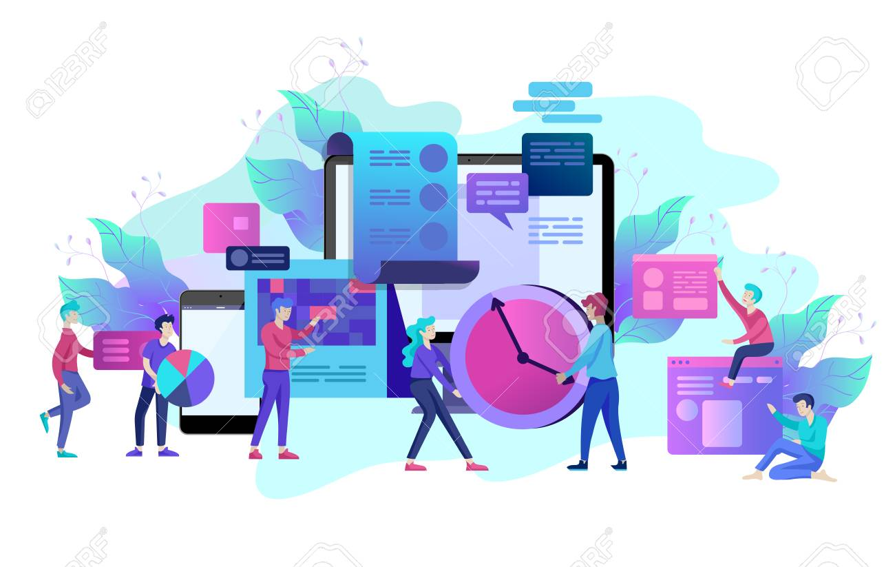 Landing page template of planning timework management people. Businnes Start Up Concept. Income and Success. Workers are studying the infographic, the analysis of evolutionary scale. Vector Business - 113856297