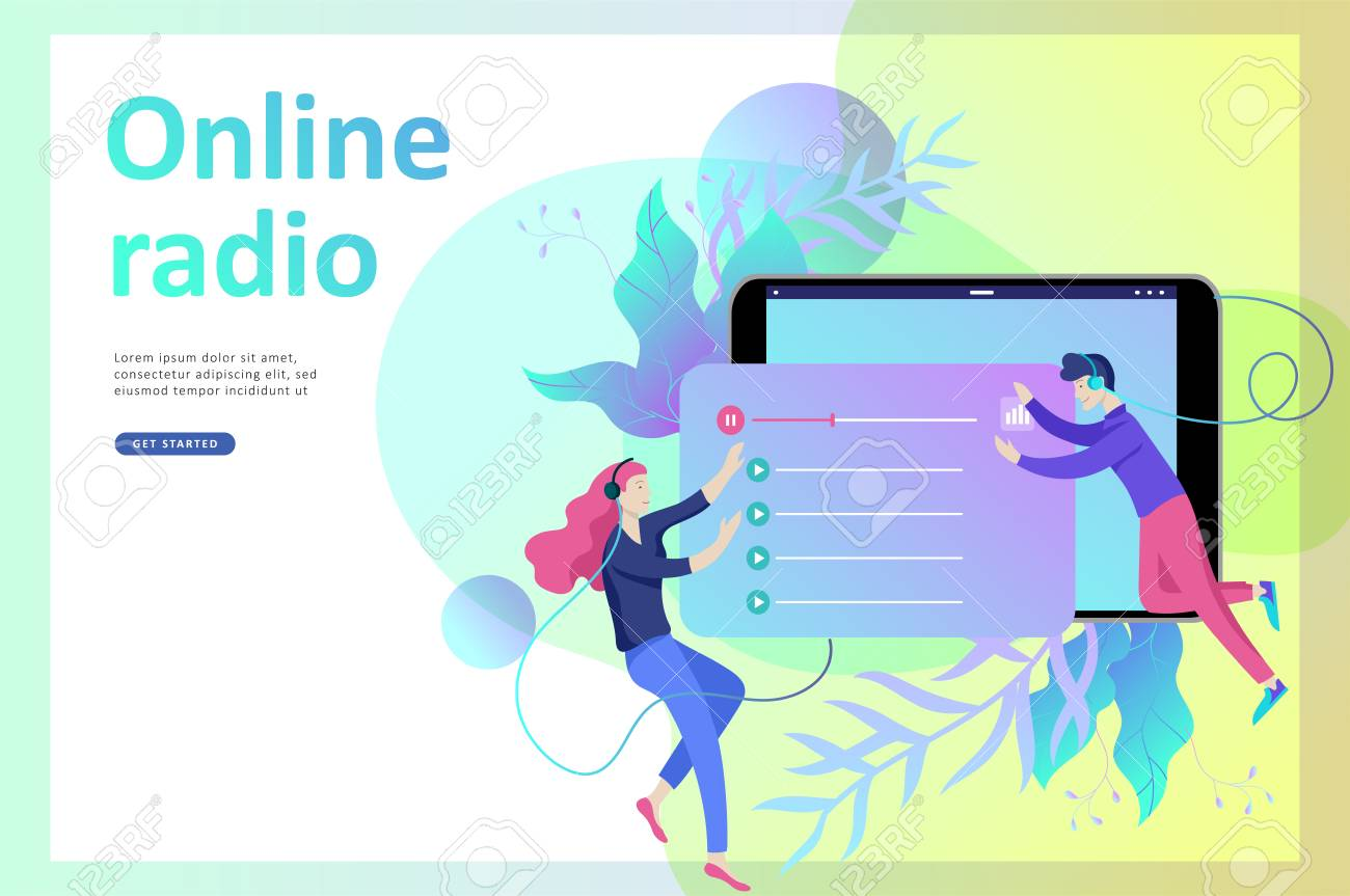 Concept of internet online radio streaming listening, people
