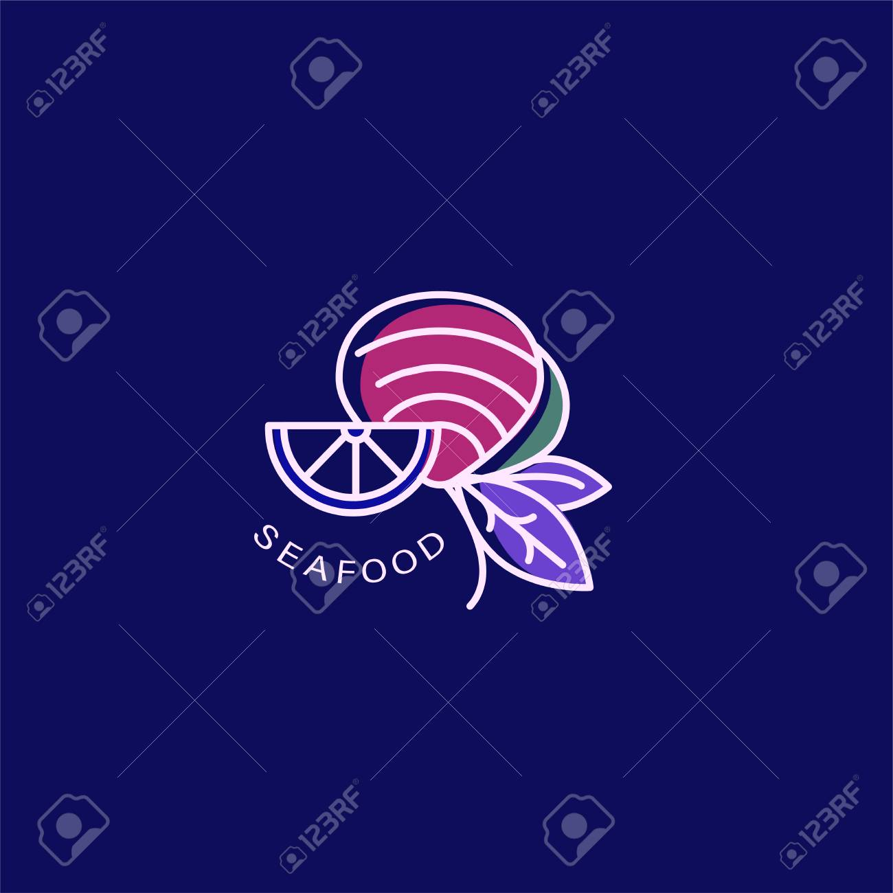 Vector Icon And Logo For Seafood Restaurant Or Cafe Editable