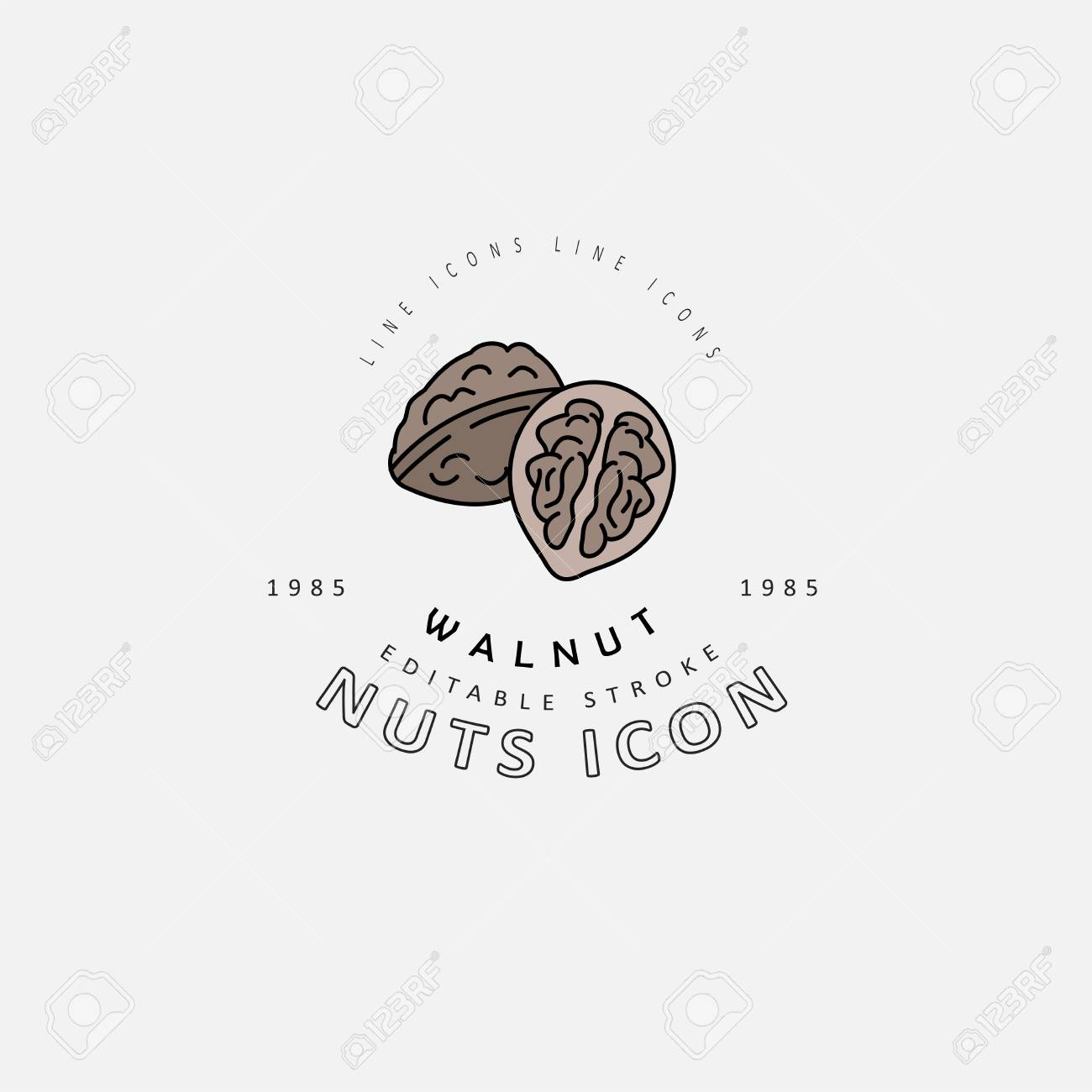 Vector icon and logo for nuts and seeds. Editable outline stroke size. Line flat contour, thin and linear design. Simple icons. Concept illustration. Sign, symbol, element. - 114160472