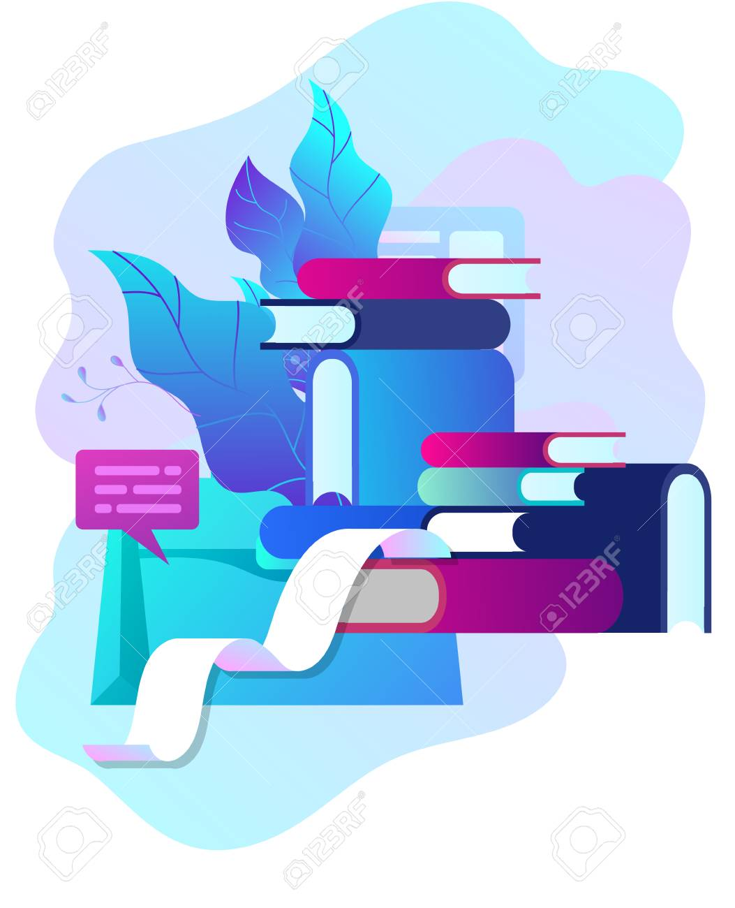 Concept vector illustration of business Blogging, people and education technology. Vector illustration news, copywriting, seminars, tutorial, creative writing, content management for web page, banner presentation, social media documents - 126752615