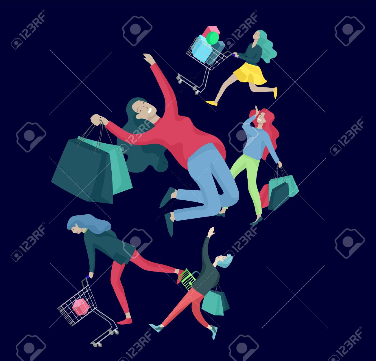 Collection of people carrying shopping bags with purchases. Madness on sale, line of crazy Men and women taking part in seasonal sale at store, shop, mall. Cartoon characters concept for black friday. - 126752686