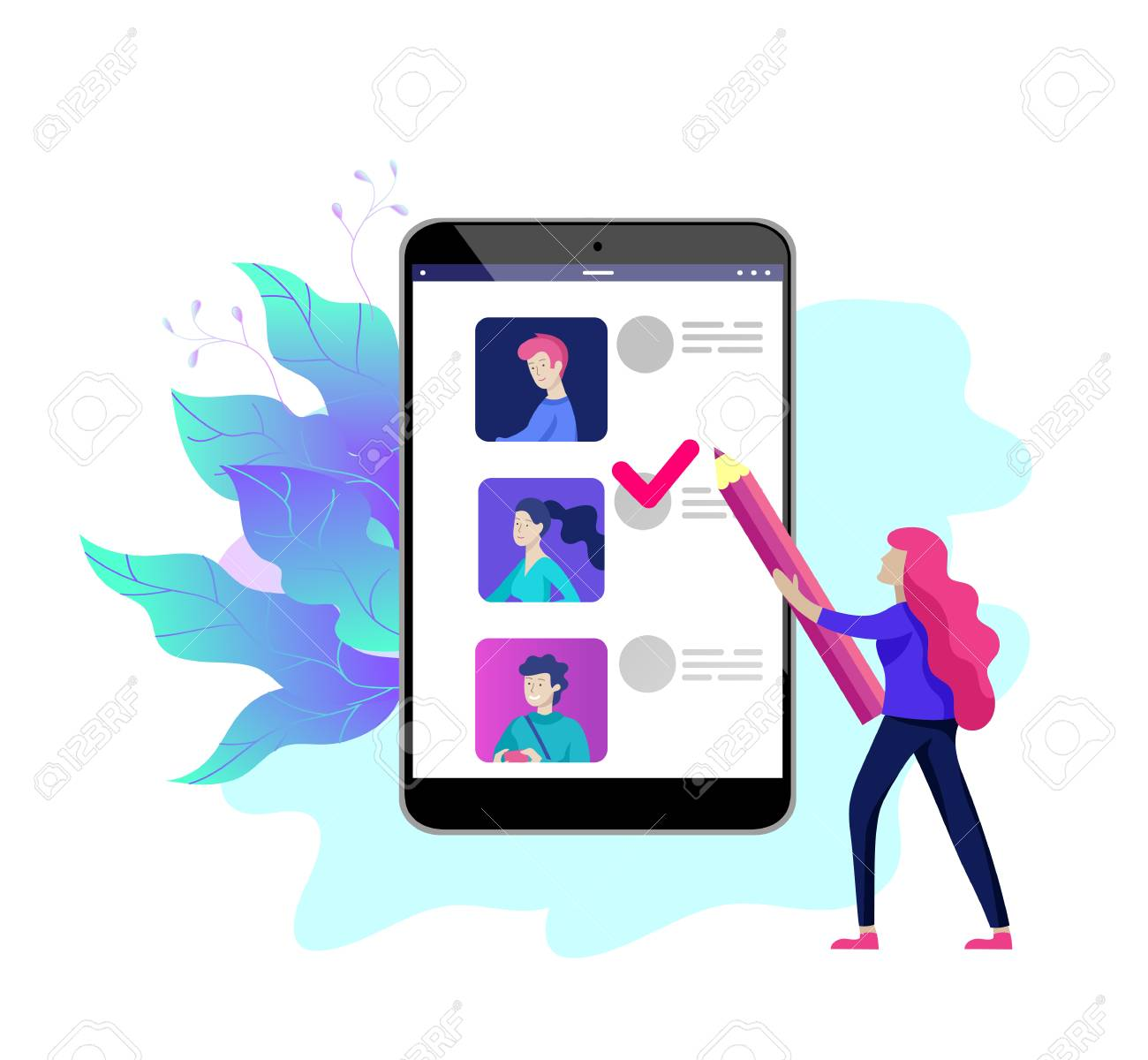 Voting and Election concept. Pre-election campaign. Promotion and advertising of candidate. Citizens debating candidates for voting and voting Online voting and election concept with people. - 126757327