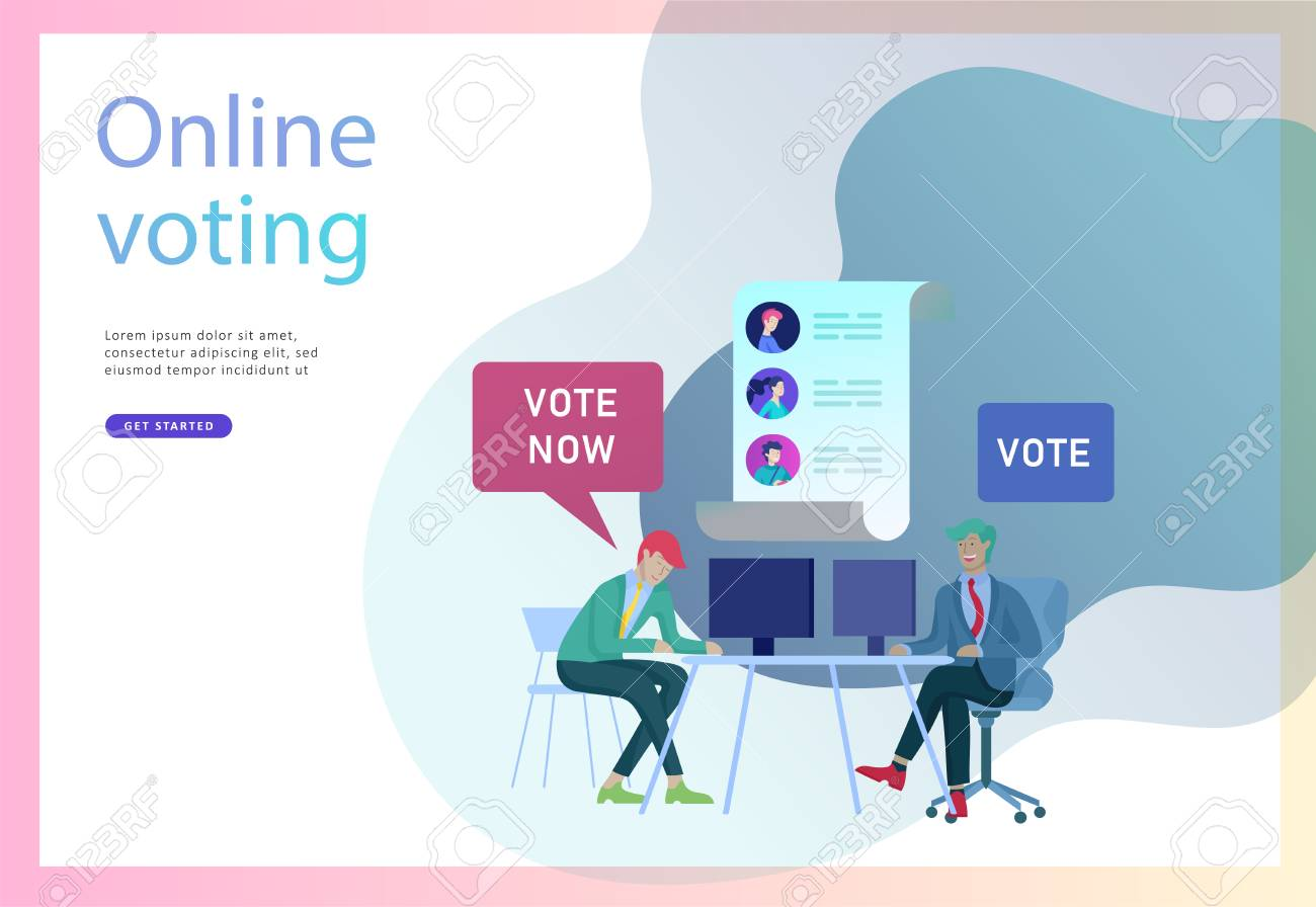 Voting and Election concept. Pre-election campaign. Promotion and advertising of candidate. Citizens debating candidates for voting and voting Online voting and election concept with people. - 126757371