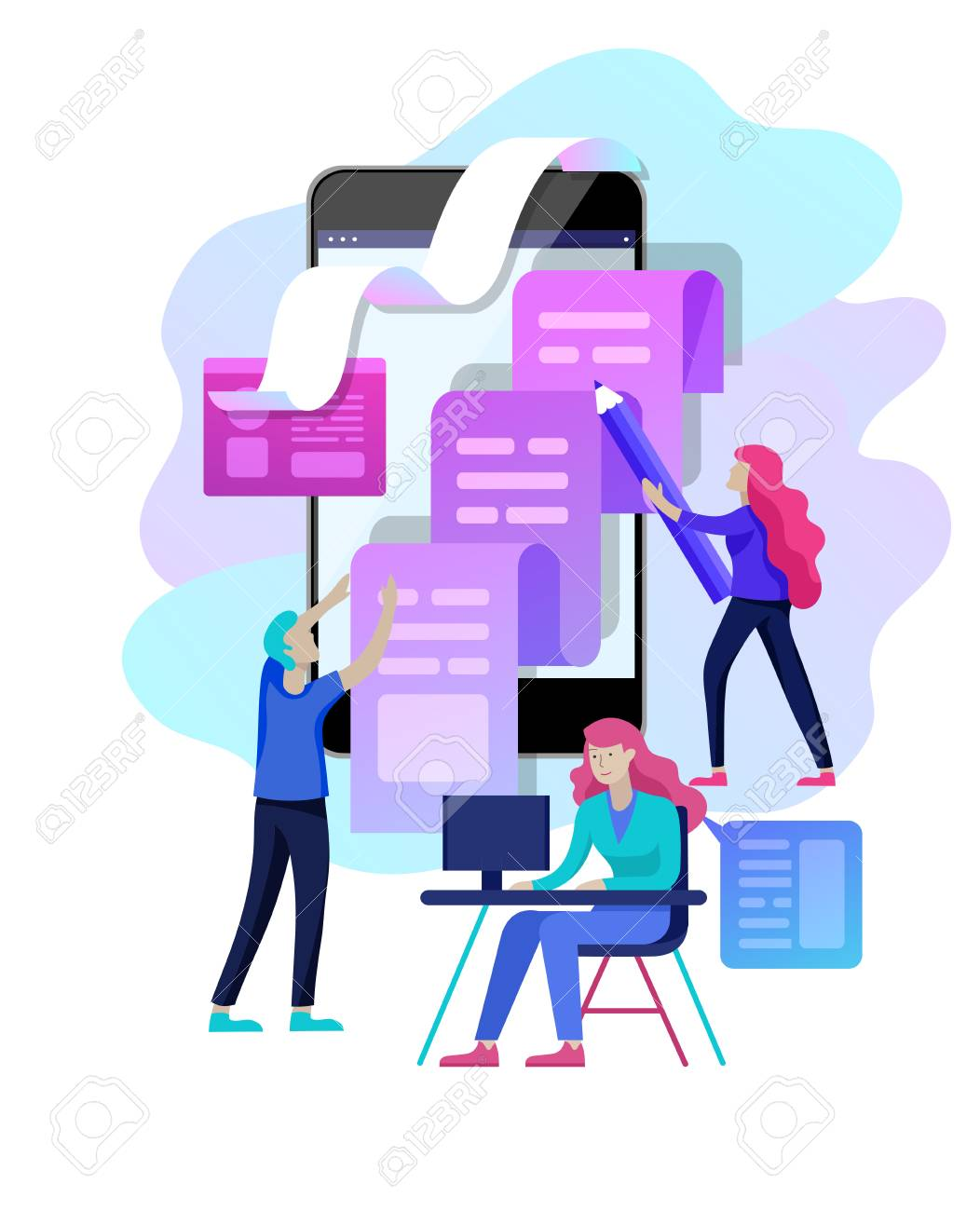 Concept vector illustration of business Blogging, people and education technology. Vector illustration news, copywriting, seminars, tutorial, creative writing, content management for web page, banner presentation, social media documents - 126757425