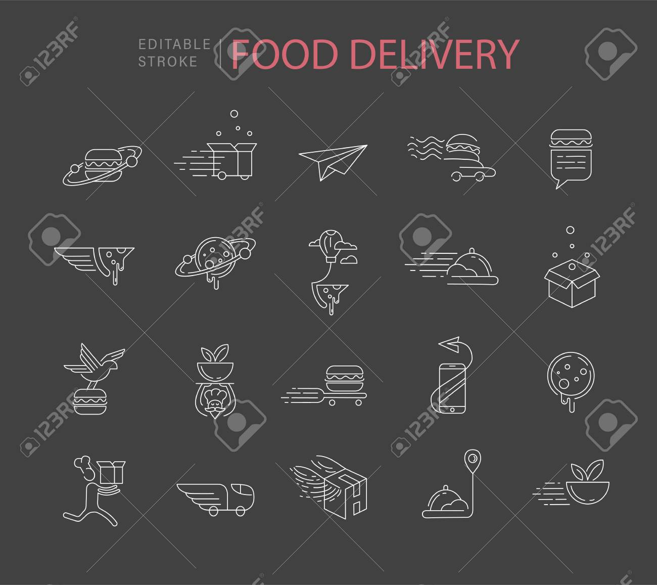 Vector icon and logo for food online deliwery. Editable outline stroke size. Line flat contour, thin and linear design. Simple icons. Concept illustration. Sign, symbol, element. - 114162731