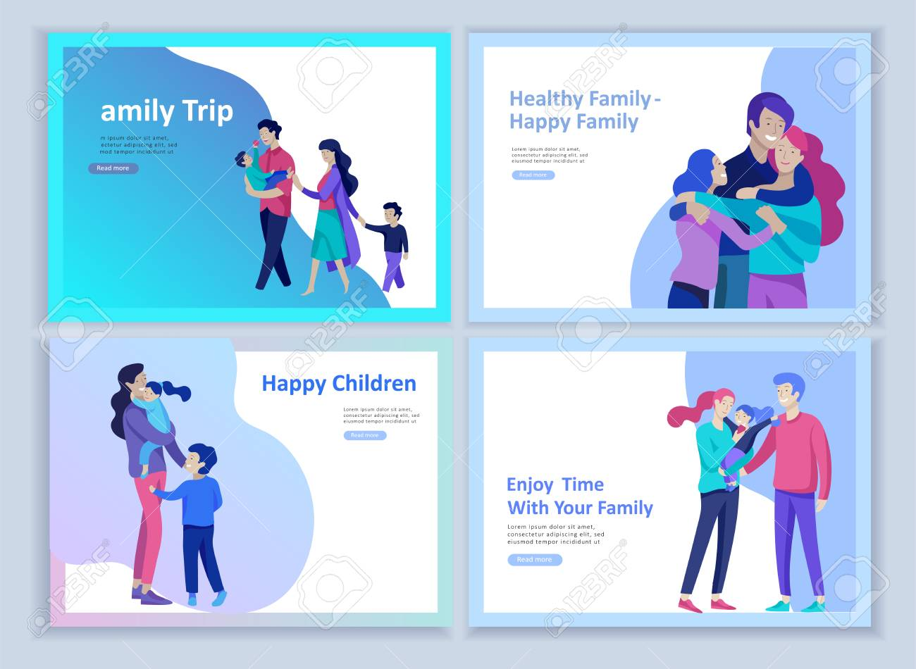 Set of Landing page templates happy family, travel and psychotherapy, family health care, goods entertainment for mother father and their children. Parents with daughter and son have fun togethers - 114162733