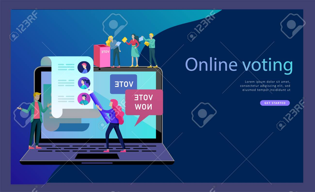 Voting and Election concept. Pre-election campaign. Promotion and advertising of candidate. Citizens debating candidates for voting and voting Online voting and election concept with people. - 126551389