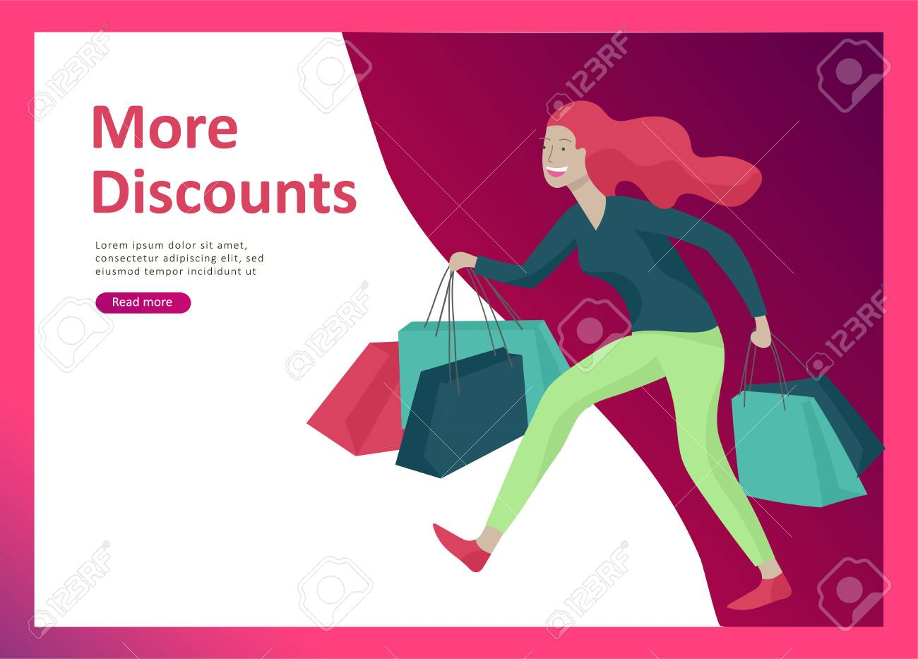 Landing page templates. People running for sale, crazy discounts, end of season, carrying shopping bags with purchases. Madness on seasonal sale at store shop. Cartoon character for black friday - 126551465