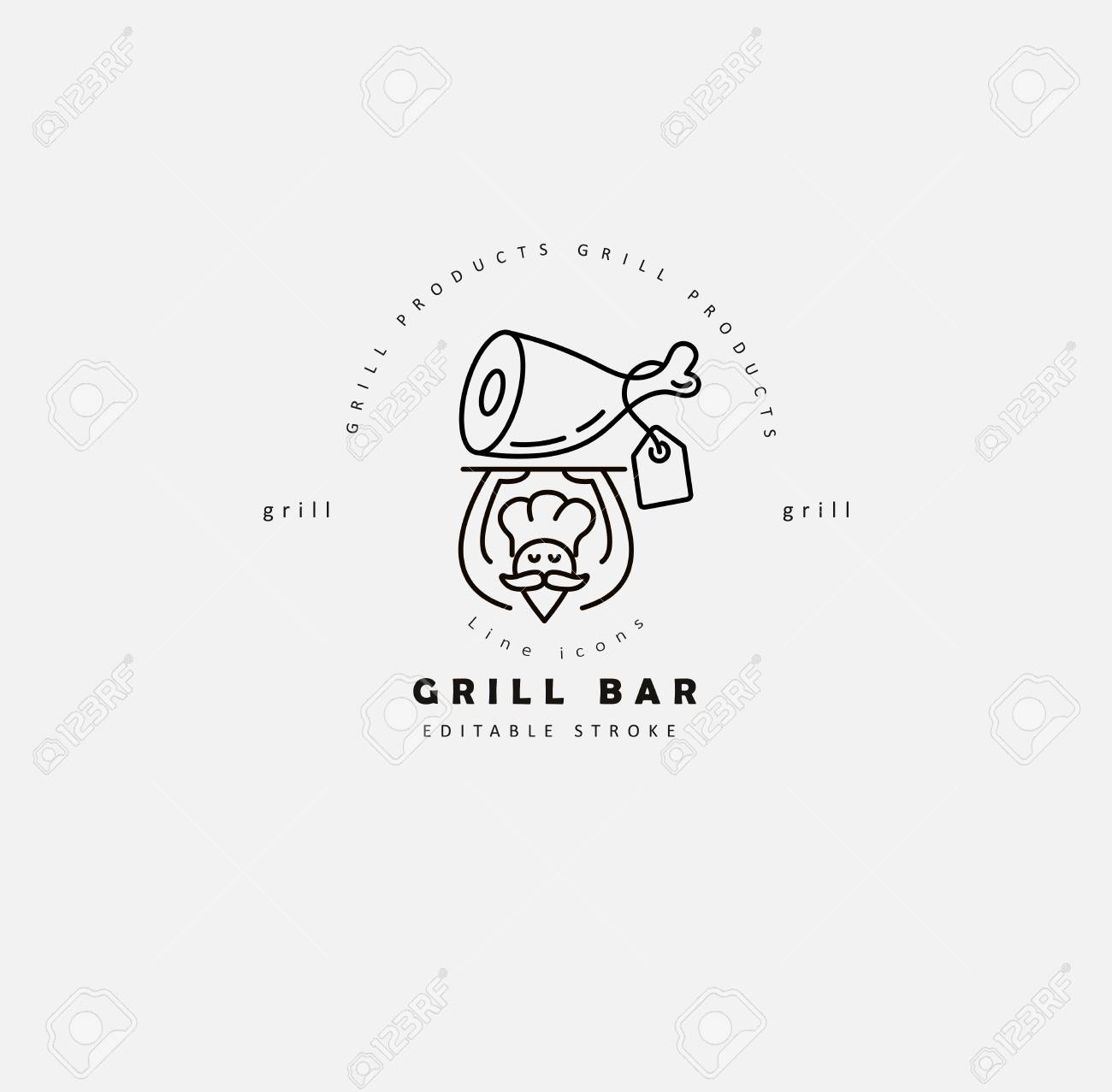 Vector Icon And Logo For Meat And Grill Cafe Or Steak Restaurant Royalty Free Cliparts Vectors And Stock Illustration Image 114841533