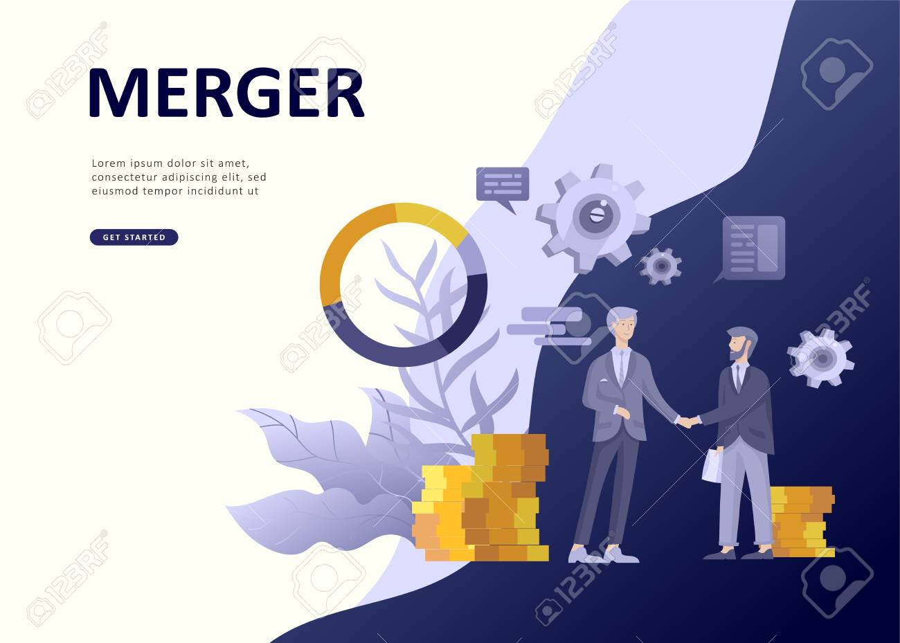 Set Landing page template people develop, business app, winners cup, financial consultant research, cooming soon start up and solution. Vector illustration concept website mobile development - 114842407