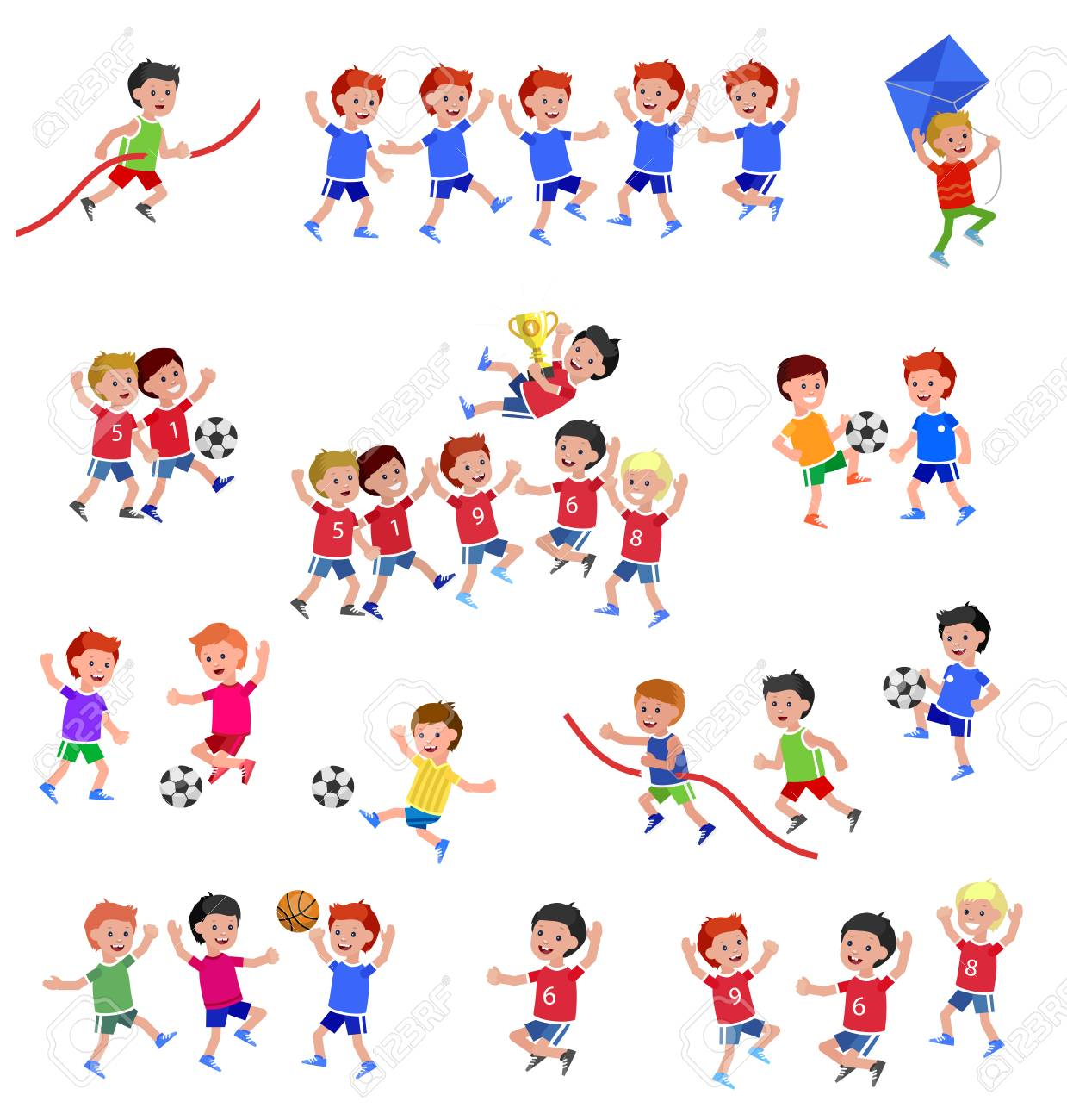 Cute vector character child playing football, basketball, with a kite, runs. Cheerful Happy boy kid illustration - 126353636