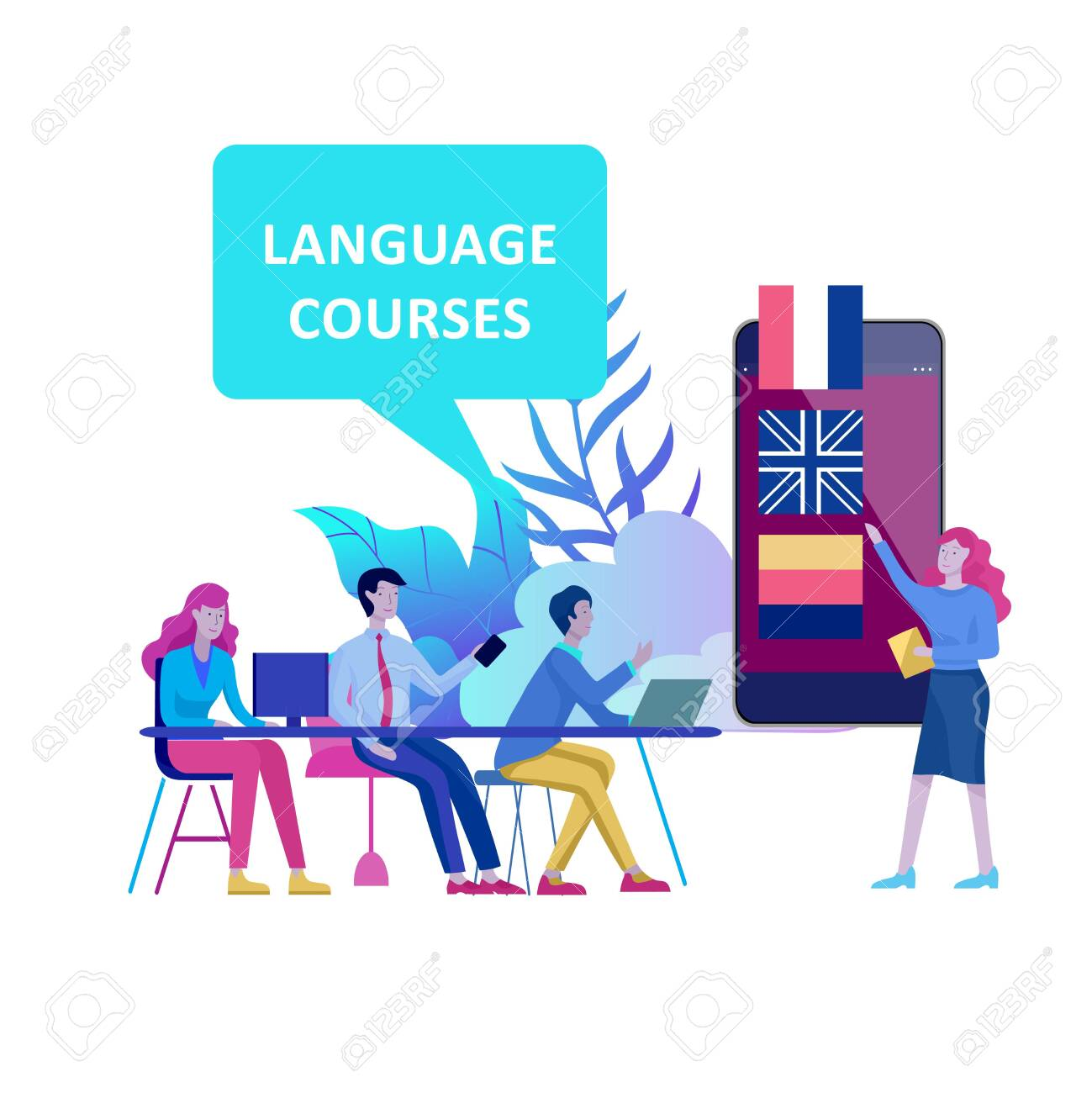 Online language courses, distance education, training. Language Learning Interface and Teaching Concept. Education Concept, training young people. Internet students - 124290767