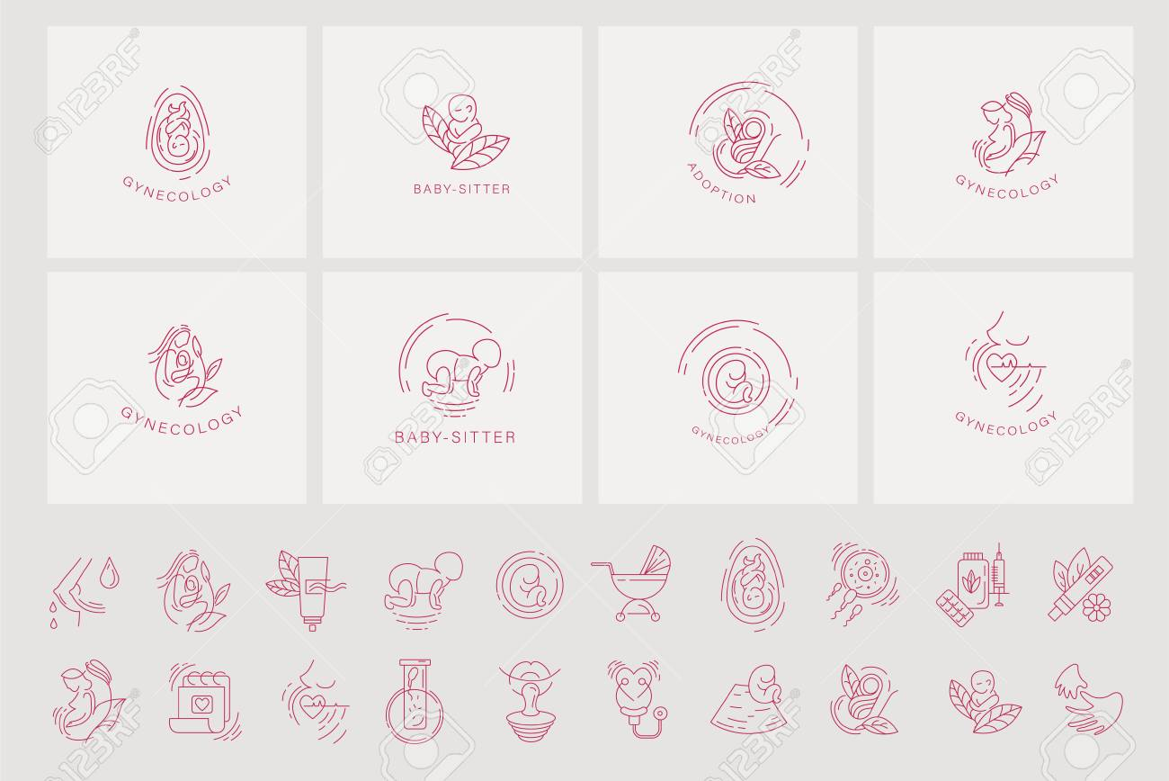Vector icon and logo for pegnancy and gynecology  Editable outline
