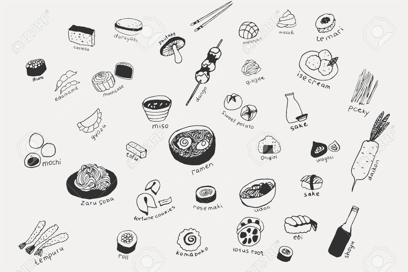 Collection of the different japanese food. Hand drawn line art set of the food icons - 124290807