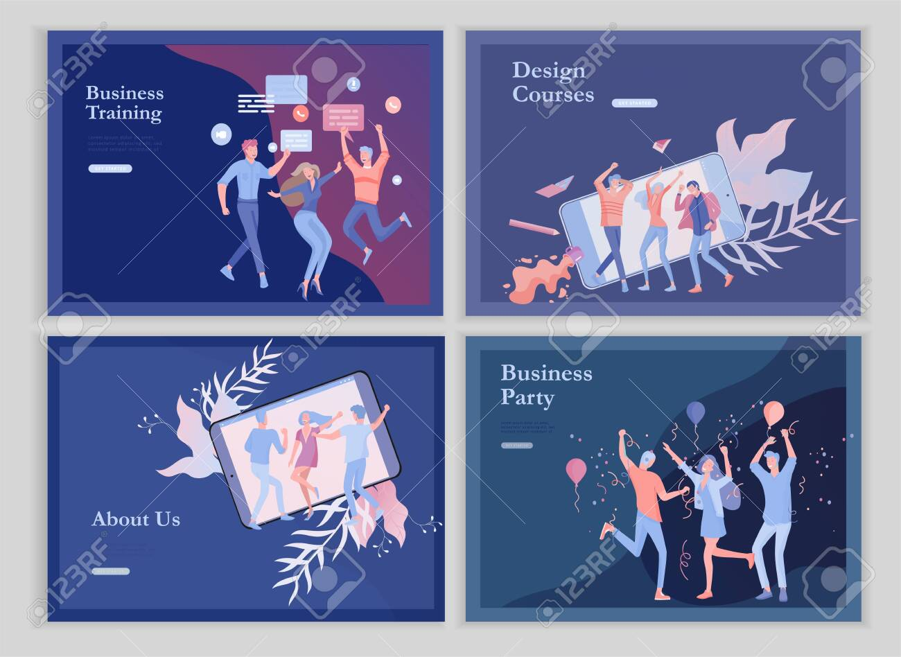 landing page templates set with team People moving. Business invitation and corporate party, design training courses, about us, expert team, happy teamwork. Flat characters design illustration - 124031420