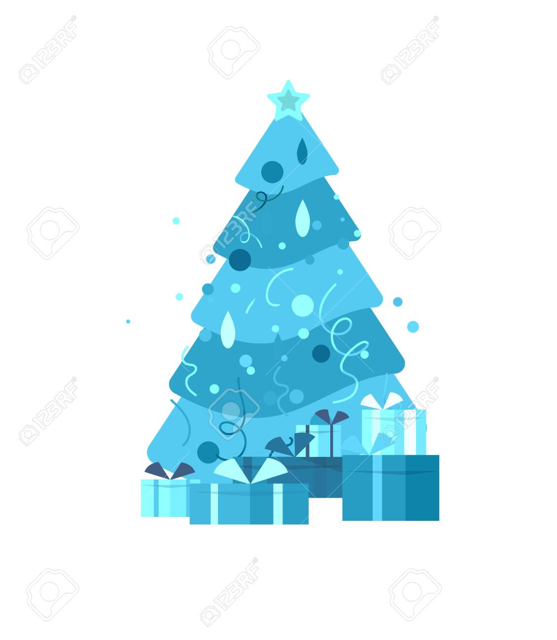 template greeting card winter Holidays. Merry Christmas and Happy New Year Website with Christmas tree and gift on background - 124033771