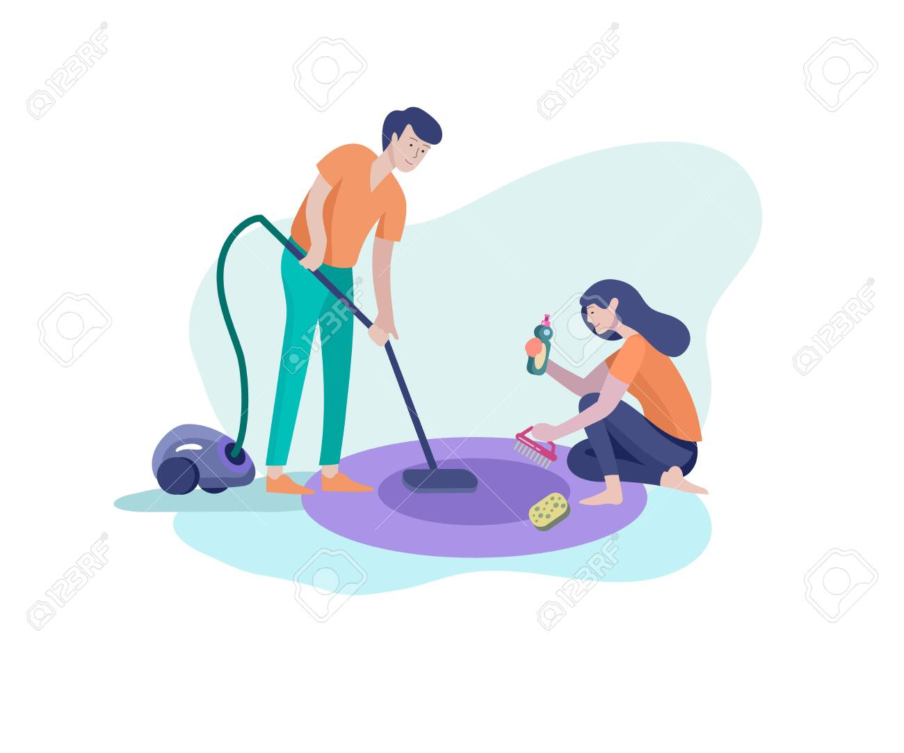 Couple To Wipe The Dishes Royalty Free Cliparts, Vectors, And Stock  Illustration. Image 63208950.