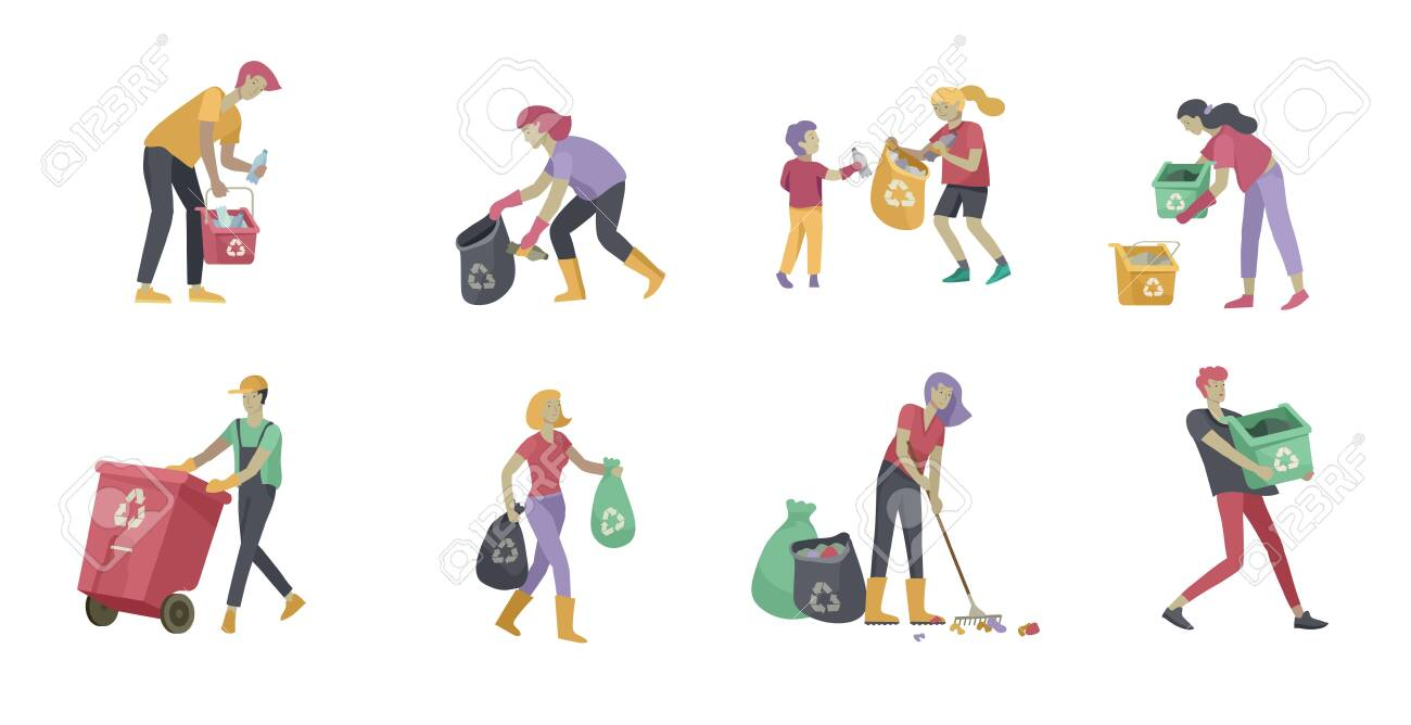 people and children Recycle Sort organic Garbage in different container for Separation to Reduce Environment Pollution. Family with kids collect garbage. Environmental day vector cartoon illustration - 124004311