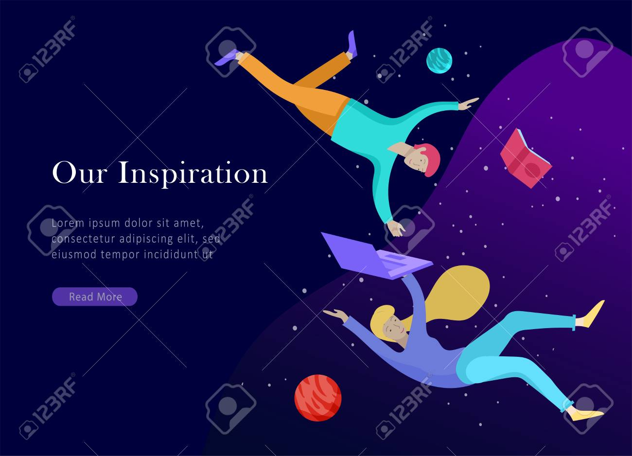 landing page template. Inspired People flying. Create your own spase. Character moving and floating in dreams, imagination and freedom inspiration design work. Flat design style - 120180036