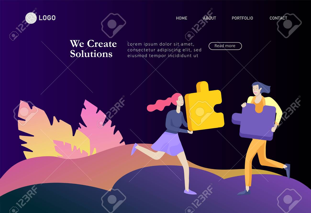 Landing page templates. Vector character business people with infographic of puzzle have solution. Goal thinking. Cooperation by group to create a team. Concept for web design Colorful flat concept illustration. - 130840014