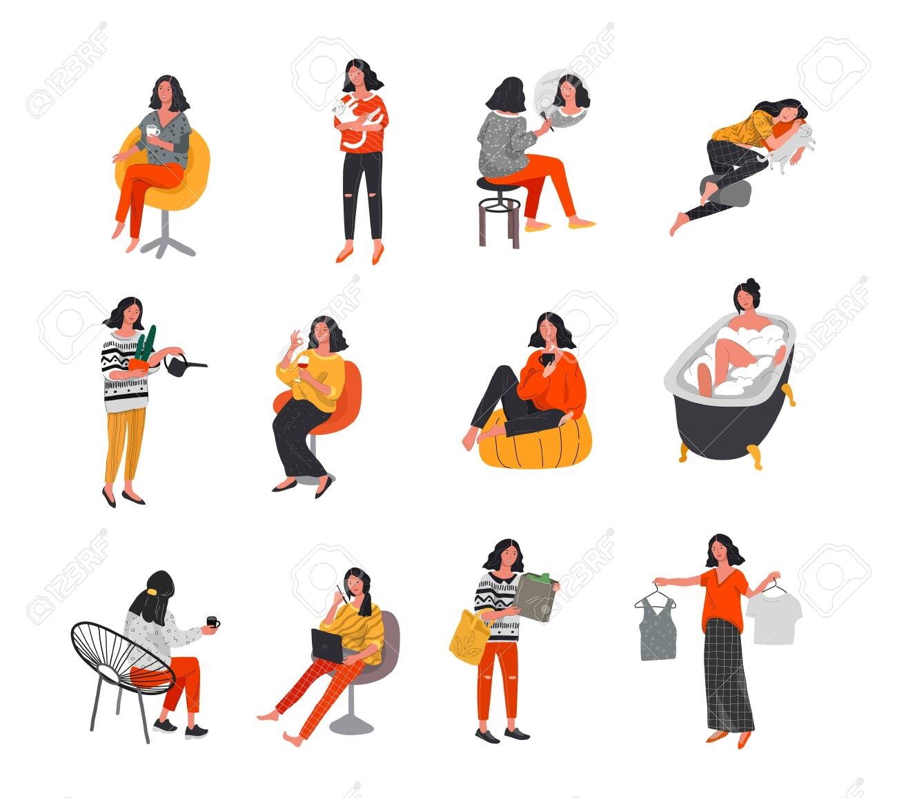 Set of beautiful girl in daily life scenes. Young woman shopping, makes up, sleeping, relaxes, takes bath, chooses clothes, playing with cat, working, watering flower. Flat cartoon vector illustration - 132699525