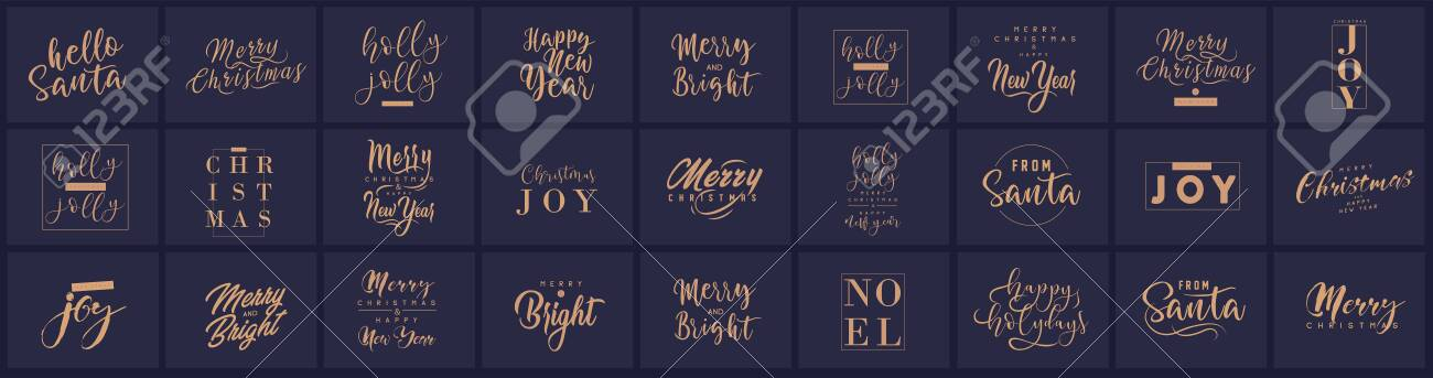 Merry Christmas and happy New Year set with lettering typographic compositions for the poster and greeting card. Calligraphy for winter holiday. Vector illustration - 133926933