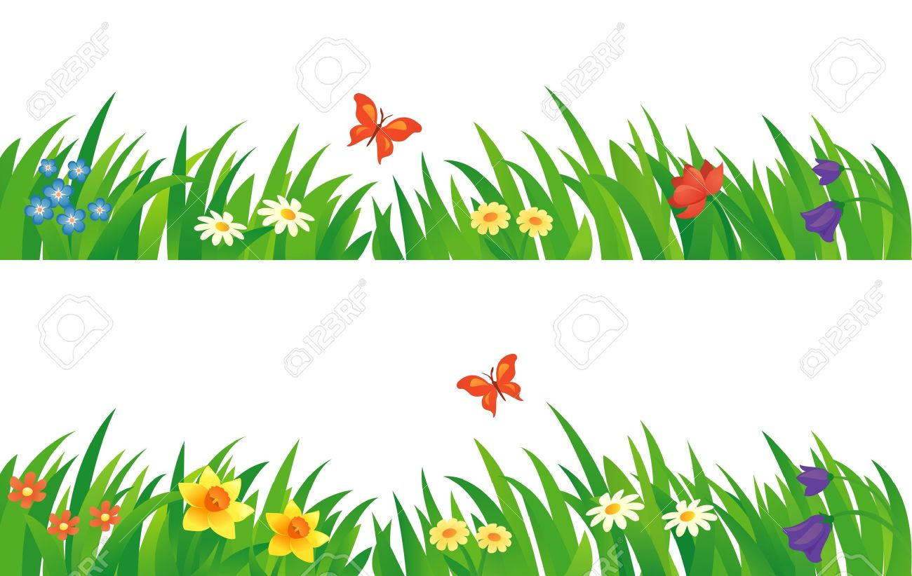 Vector Set With Summer Grass And Flowers Royalty Free Cliparts
