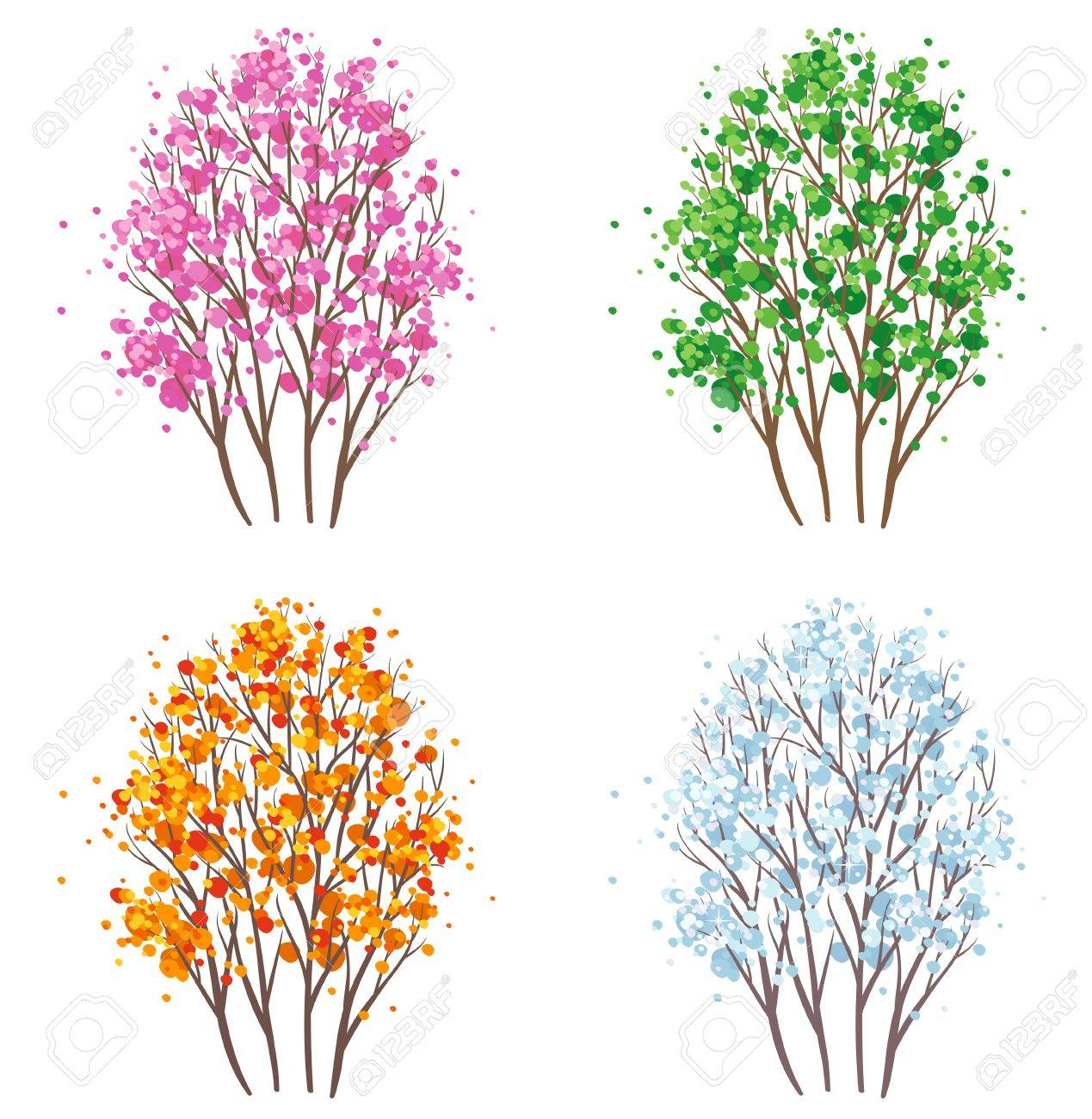 Vector four seasons tree set. Stock Vector - 20242649