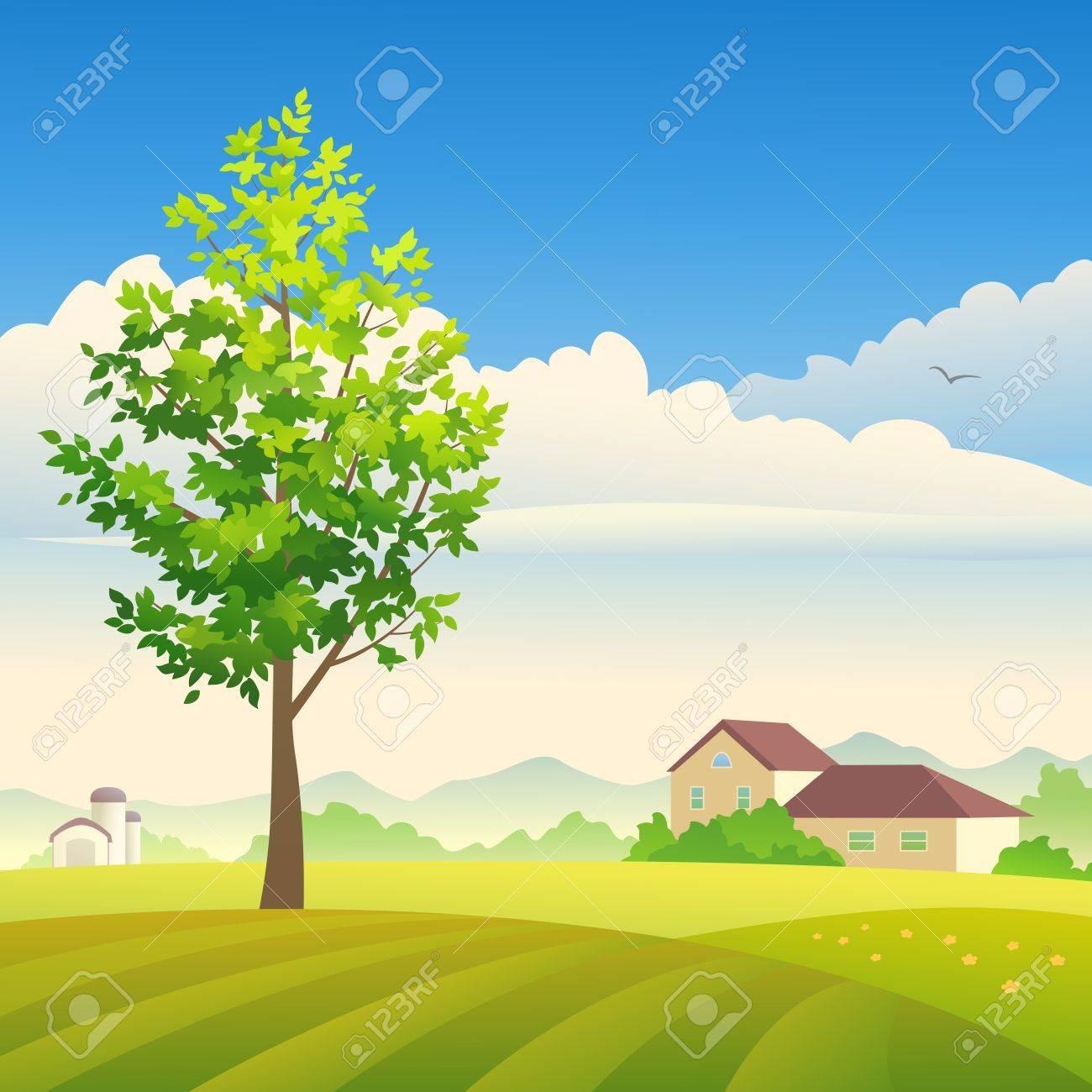 Vector illustration of a summer or spring farm. - 20242642