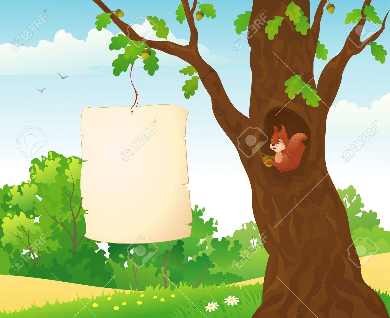 Vector illustration of a banner in the forest Stock Vector - 20464663