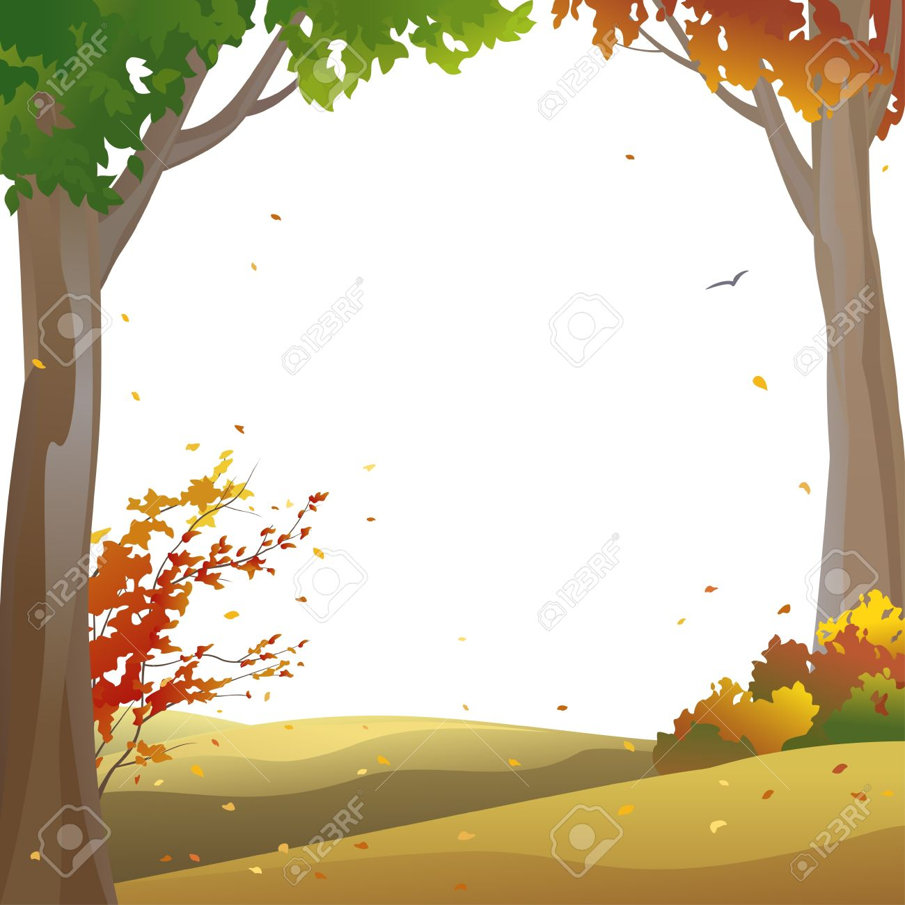 vector background with autumn trees and falling leaves royalty free rh 123rf com fall leaf background clipart Thanksgiving Background Clip Art