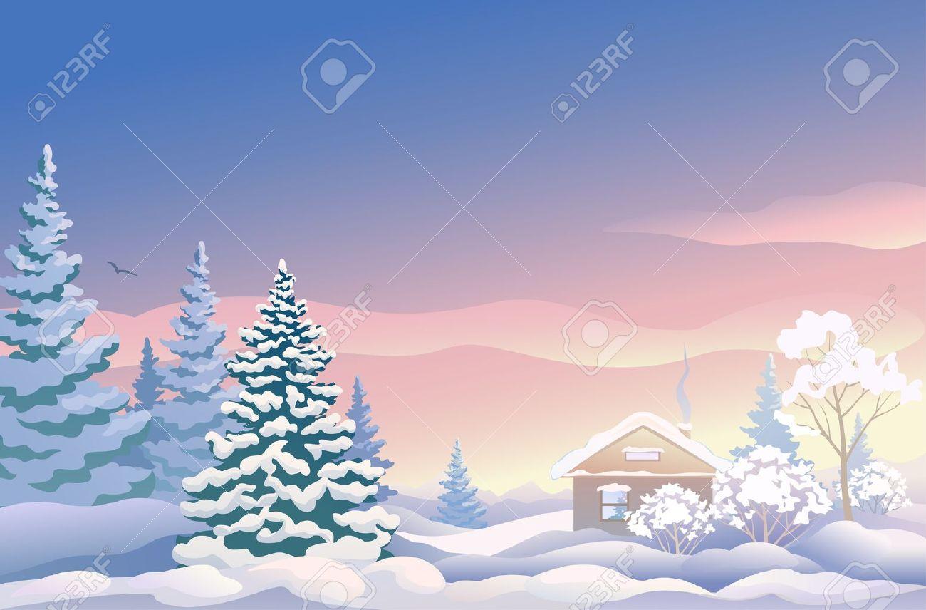 Vektor-Illustration Von Einer Schönen Weihnachten Landschaft Mit ...