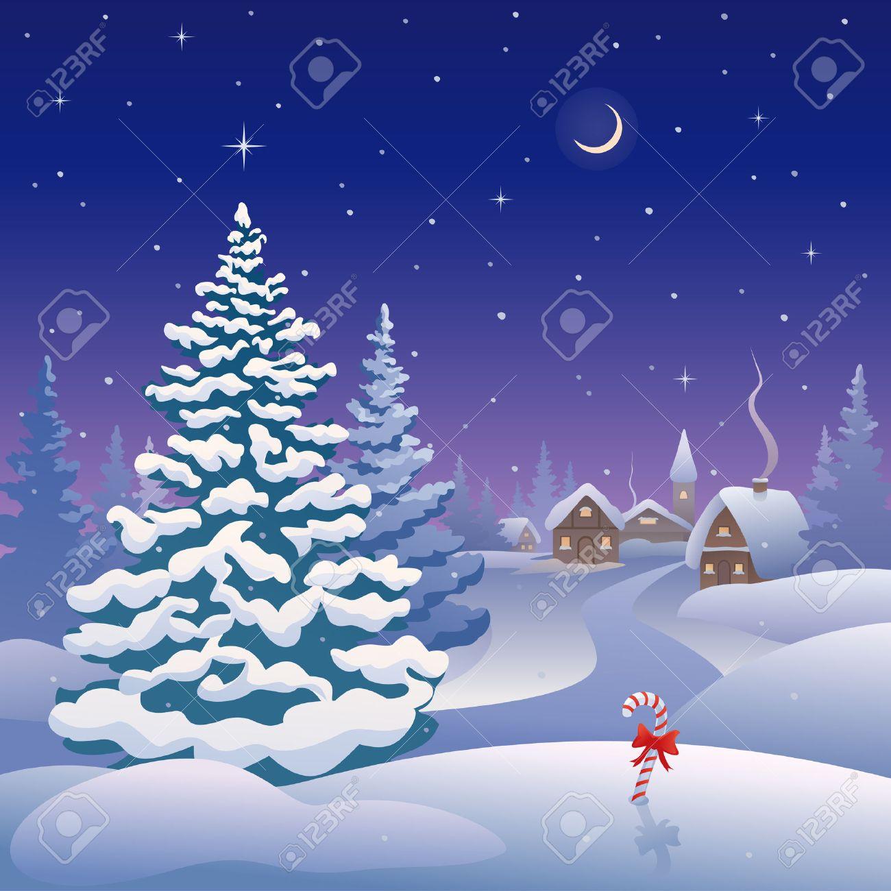 pino nevado vector de la tarjeta de navidad con un pueblo nevado